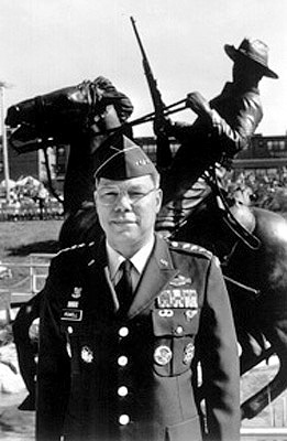General Powell at the dedication of the Buffalo Soldier memorial at Fort Leavenworth.   Buffalo Soldiers was the name given by American Indians to the African Americans who served with the 10th Cavlary during the winning of the West.